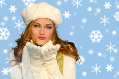 Blue Snowflakes With Pretty Girl Stock Photography