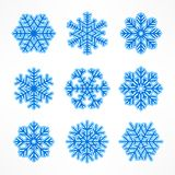 Blue snowflakes. Set of Christmas snowflake isolated on white. Vector illustration vector illustration