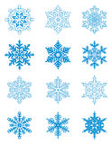 Blue snowflakes. Set of blue snowflakes for design. Vector illustration stock illustration