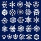 Blue Snowflakes Set Line Design. Snowflakes Set. Line design snow flakes,  on blue background. Vector snow Christmas decoration for greeting card, winter sales Stock Photos