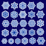 Blue Snowflakes Set Stickers Design. Snowflakes stickers set. Line design snow flakes,  on blue background. Vector snow Christmas decoration for greeting card Stock Photos