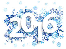 2016 Blue Snowflakes. Text 2017 with blue snowflakes on the white background Royalty Free Stock Photography