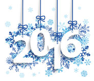 2016 Blue Snowflakes. Text 2017 with blue snowflakes on the white background. Eps 10 vector file Stock Photo