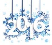2016 Blue Snowflakes Stock Photo