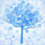 Blue snowflakes on the tree Stock Photo