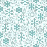Blue snowflakes on white background. Christmas vector pattern royalty free illustration