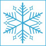 Blue snowflakes in white background stock photography