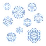 Blue snowflakes on white background. vector christmas set. Snowflakes collection vector illustration