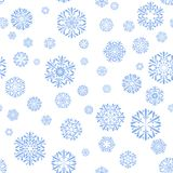 Blue snowflakes on white background. vector seamless pattern. Winter background. snowflakes collection. textile paint. repetitive background. fabric swatch royalty free illustration