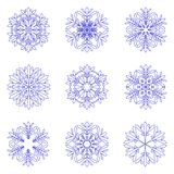 Blue snowflakes on white background. vector winter set. Snowflakes collection. snow symbols outliene royalty free illustration