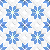 Blue snowflakes and white squares seamless. Abstract 3d seamless background. Blue snowflakes and white squares with out of paper effect Stock Photography
