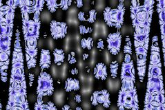 Blue snowflakes zigzag on dark background. Blue snowflakes zigzag on black background stock illustration