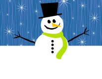 Blue Snowman Border Stock Photos