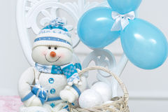 Blue snowman decoration for New Year Royalty Free Stock Photo