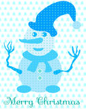 Blue snowman with hat and scarf Stock Photo