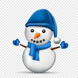 Blue snowman transparent background. Christmas snowman with shadow on transparent background. Blue scarf, mitten and hat clothes dressed Stock Photography