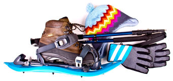 Blue Snowshoes partly isolated Stock Image