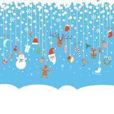 Blue snowy background with Christmas garland Royalty Free Stock Photo