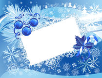 Blue snowy Christmas background Royalty Free Stock Images