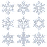 Blue snowy decorative snowflakes set Stock Photos