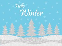 Blue snowy hello winter holiday season background stock photo