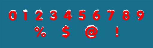 Blue snowy numbers, winter font stock illustration