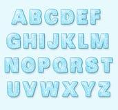 Blue Snowy Winter Font Stock Photos