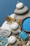 Blue soap and bath salts. Spa background with some blue hygiene items and decoration in blue Royalty Free Stock Image