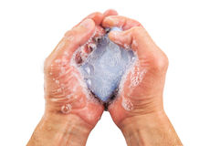 Blue soap in the hands Stock Images