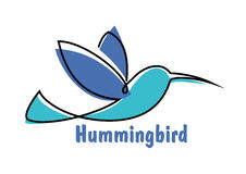 Blue soaring hummingbird or colibri symbol. Soaring hummingbird symbol for logo or emblem design with abstract colibri little bird in shades of blue Stock Photos