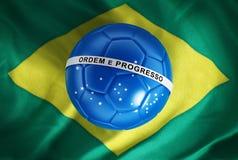 Blue soccer ball on Brazil flag Stock Image