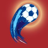 Blue soccer ball wit splash tail, vector illustration. Vector illustration with blue soccer ball with splash tail, red background Stock Image