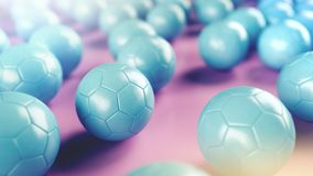 Blue soccer balls on pink surface. Picture of a blue leather soccer balls on pink surface. 3D Render Stock Images