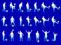 Blue Soccer Player Silhouette Collection Royalty Free Stock Image