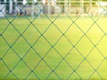 Blue soccer stadium net and green field Royalty Free Stock Photo