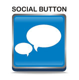 Blue social button Stock Image