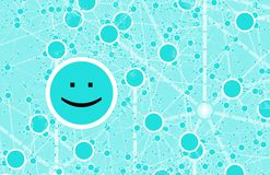 Blue Social Circle Online Friend Network Stock Image