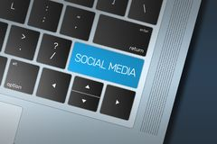 Blue Social Media Call to Action button on a black and silver keyboard royalty free illustration