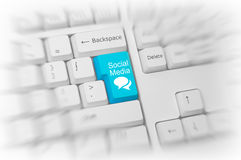 Blue Social Media key on a white keyboard Royalty Free Stock Images