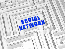 Blue social network in labyrinth Royalty Free Stock Image