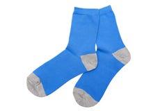 Blue socks. Isotated on the white background Royalty Free Stock Image