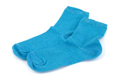 Blue socks royalty free stock image