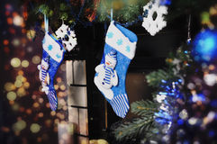 Blue socks for Christmas Royalty Free Stock Photography