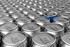 Blue soda can standing out Royalty Free Stock Images