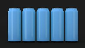 Blue soda cans standing in two raws on black background. Big and small blue soda cans standing in two raws on black background. Beverage mockup. Tin package of Royalty Free Stock Images
