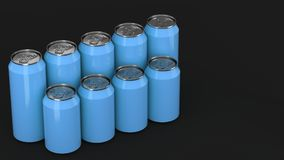 Blue soda cans standing in two raws on black background. Big and small blue soda cans standing in two raws on black background. Beverage mockup. Tin package of Royalty Free Stock Image