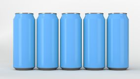 Blue soda cans standing in two raws on white background. Big and small blue soda cans standing in two raws on white background. Beverage mockup. Tin package of Royalty Free Stock Image