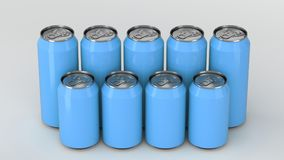 Blue soda cans standing in two raws on white background. Big and small blue soda cans standing in two raws on white background. Beverage mockup. Tin package of Stock Image