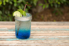Blue soda. Cool blue soda in glass Stock Images