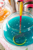 Blue soda in glass bowl Stock Photos